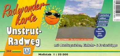 Radwanderkarte Unstrutradweg Publicpress Verlag mit der Sonne