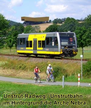 Unstrutbahn bei Wangen mit Arche Nebra